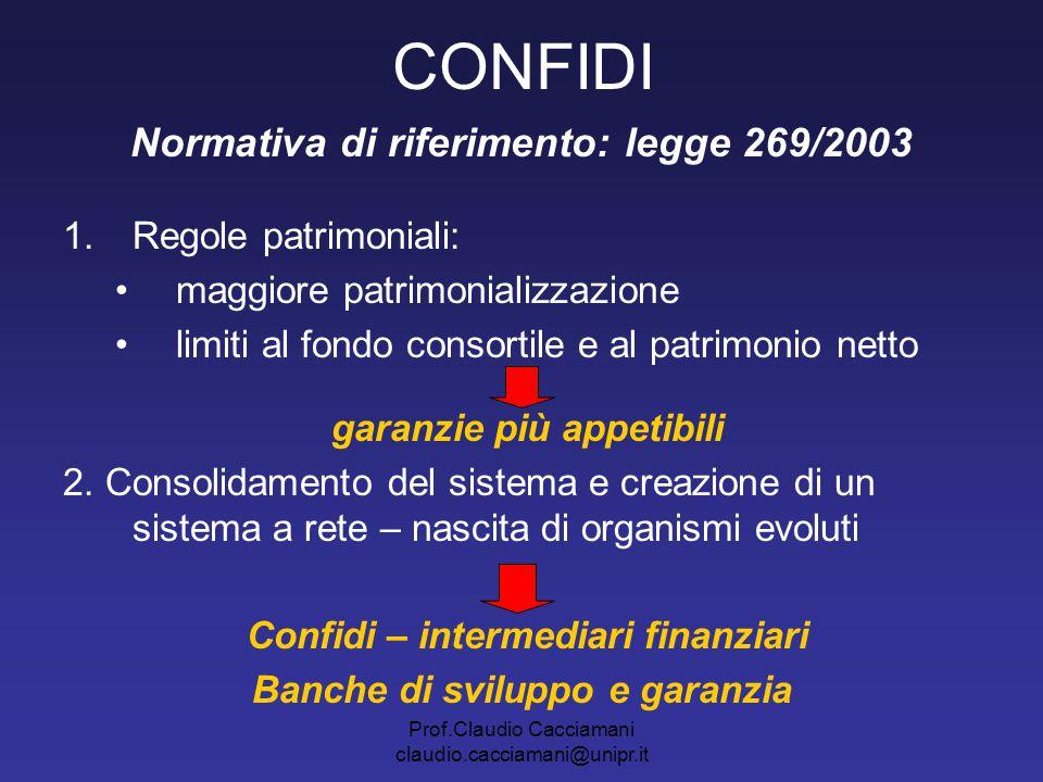 Prof.Claudio Cacciamani claudio.cacciamani@unipr.it CONFIDI Normativa di riferimento: legge 269/2003 1.Regole patrimoniali: maggiore patrimonializzazi