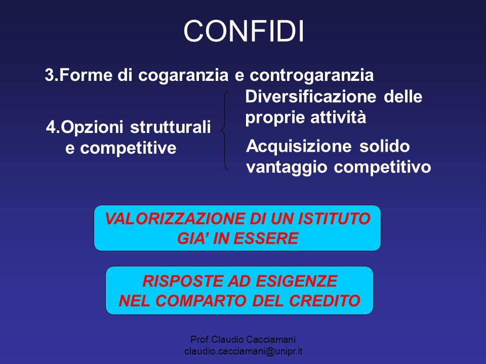 Prof.Claudio Cacciamani claudio.cacciamani@unipr.it CONFIDI 3.Forme di cogaranzia e controgaranzia 4.Opzioni strutturali e competitive Diversificazion