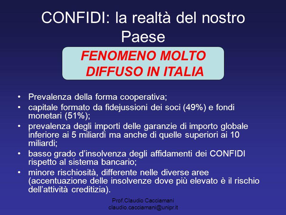 Prof.Claudio Cacciamani claudio.cacciamani@unipr.it CONFIDI: la realtà del nostro Paese Prevalenza della forma cooperativa; capitale formato da fideju