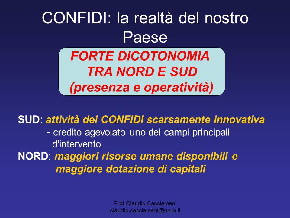 Prof.Claudio Cacciamani claudio.cacciamani@unipr.it CONFIDI: la realtà del nostro Paese FORTE DICOTONOMIA TRA NORD E SUD (presenza e operatività) SUD: