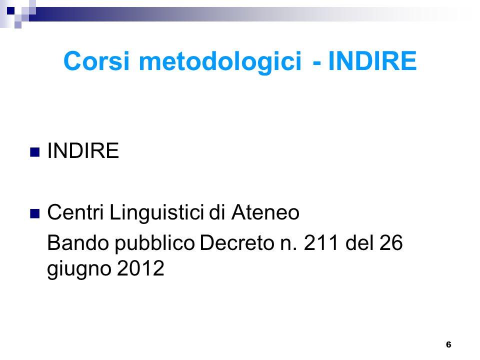 66 Corsi metodologici - INDIRE INDIRE Centri Linguistici di Ateneo Bando pubblico Decreto n.
