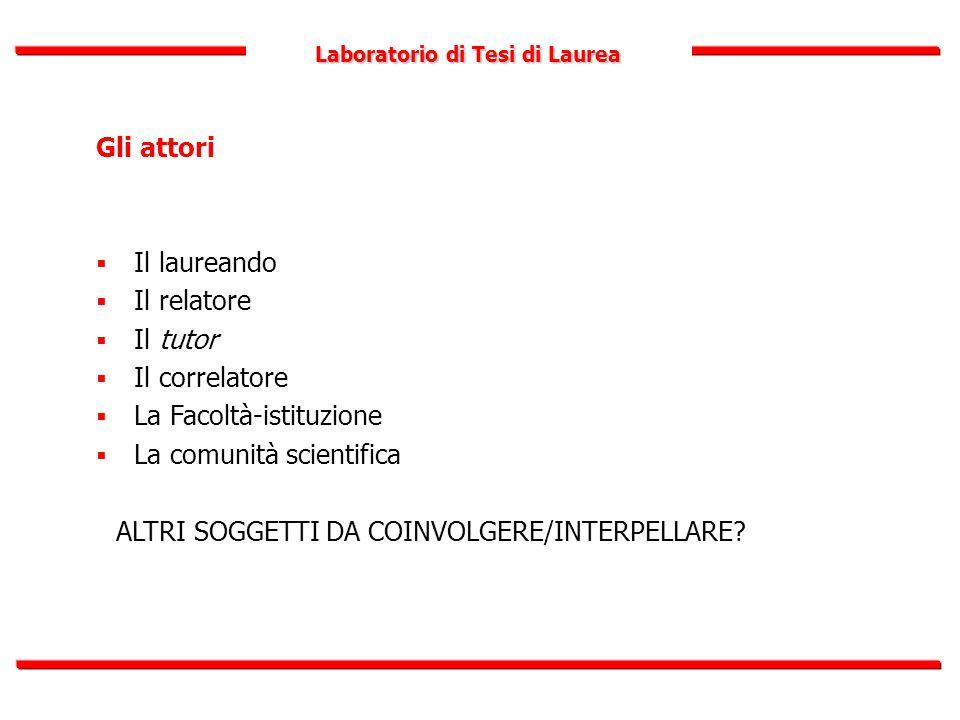Laboratorio di Tesi di Laurea Gli attori  Il laureando  Il relatore  Il tutor  Il correlatore  La Facoltà-istituzione  La comunità scientifica A