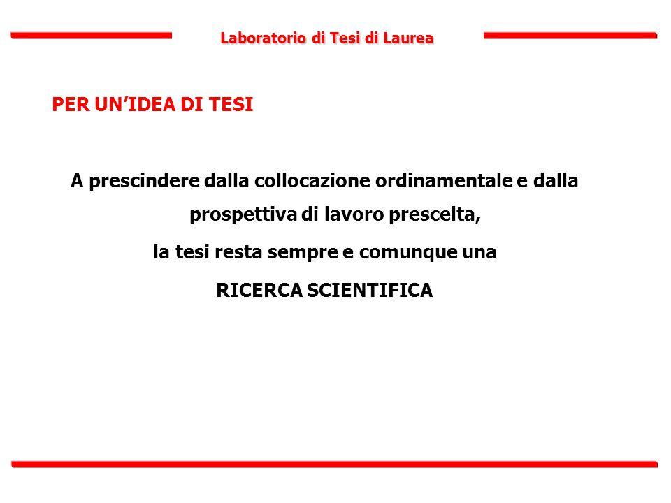Laboratorio di Tesi di Laurea PER UN'IDEA DI TESI A prescindere dalla collocazione ordinamentale e dalla prospettiva di lavoro prescelta, la tesi rest
