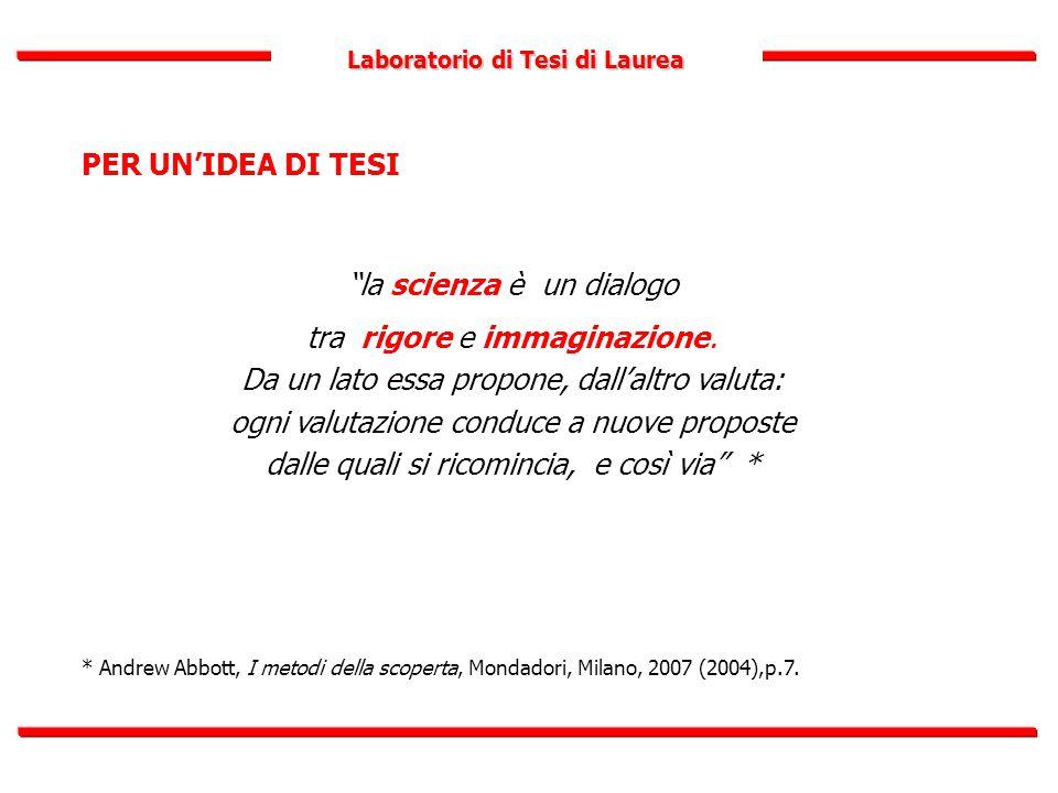 """Laboratorio di Tesi di Laurea PER UN'IDEA DI TESI """"la scienza è un dialogo tra rigore e immaginazione. Da un lato essa propone, dall'altro valuta: ogn"""