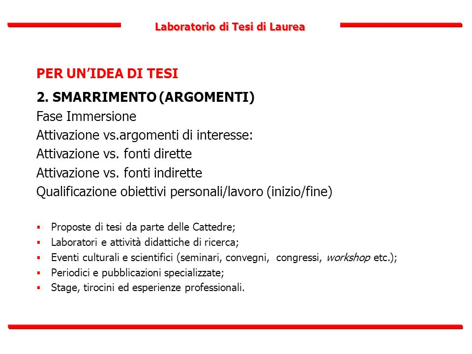 Laboratorio di Tesi di Laurea PER UN'IDEA DI TESI 2. SMARRIMENTO (ARGOMENTI) Fase Immersione Attivazione vs.argomenti di interesse: Attivazione vs. fo