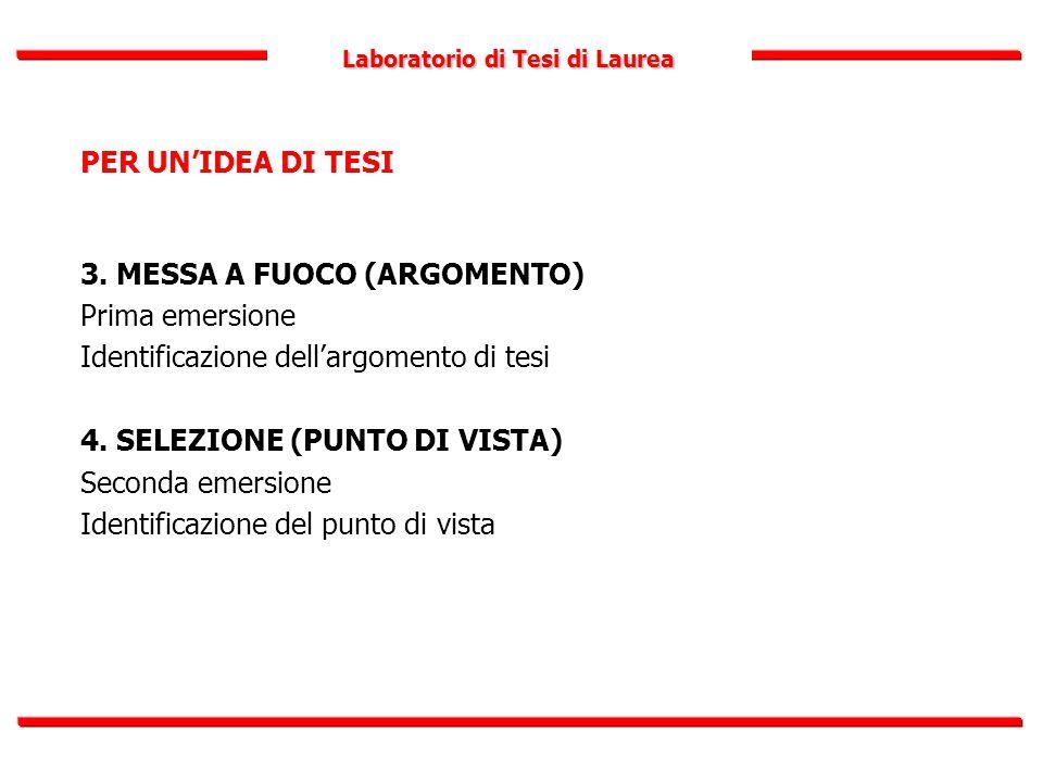 Laboratorio di Tesi di Laurea PER UN'IDEA DI TESI 3. MESSA A FUOCO (ARGOMENTO) Prima emersione Identificazione dell'argomento di tesi 4. SELEZIONE (PU