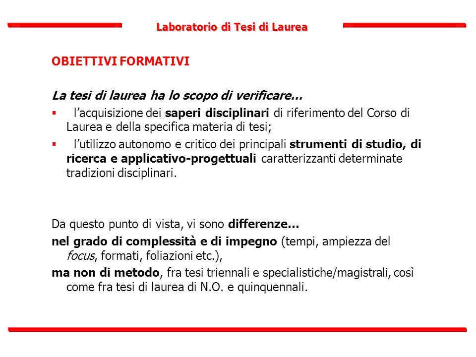 Laboratorio di Tesi di Laurea OBIETTIVI FORMATIVI La tesi di laurea ha lo scopo di verificare…  l'acquisizione dei saperi disciplinari di riferimento
