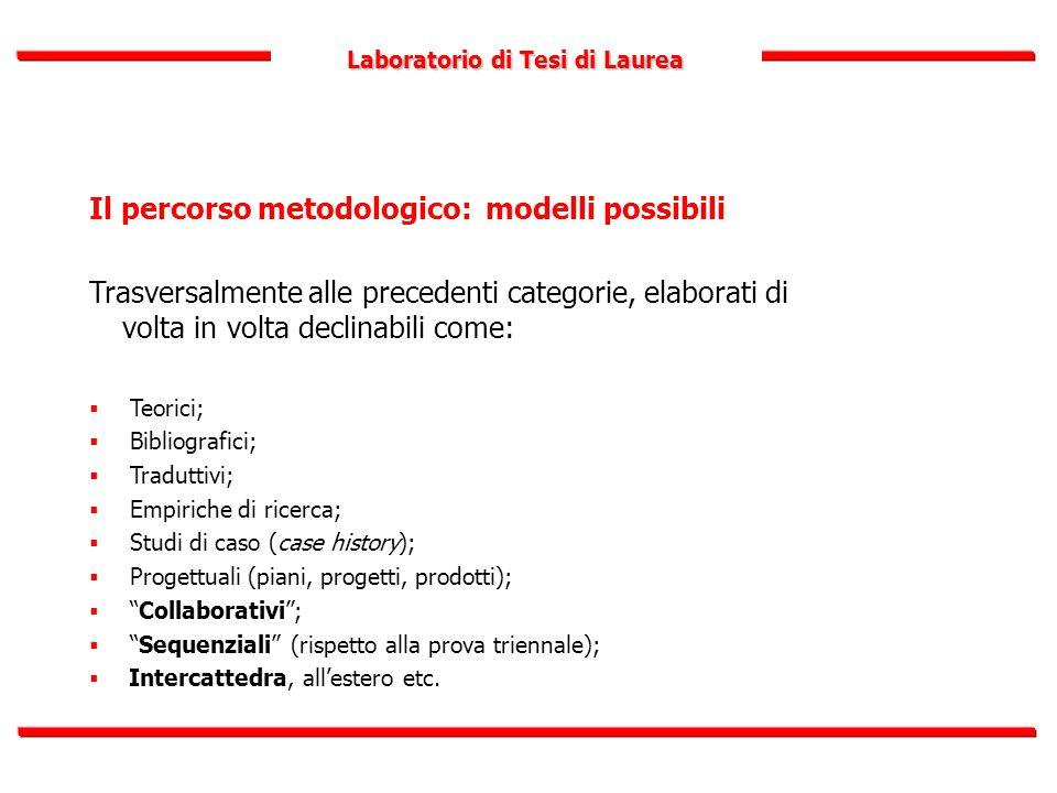 Laboratorio di Tesi di Laurea Il percorso metodologico: modelli possibili Trasversalmente alle precedenti categorie, elaborati di volta in volta decli