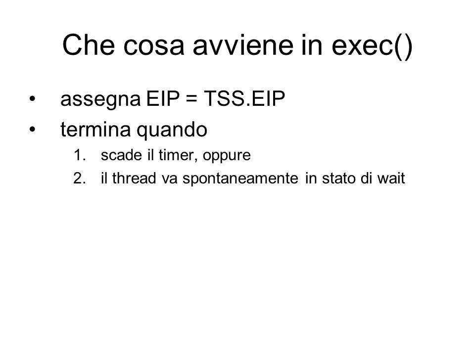 Che cosa avviene in exec() assegna EIP = TSS.EIP termina quando 1.scade il timer, oppure 2.il thread va spontaneamente in stato di wait