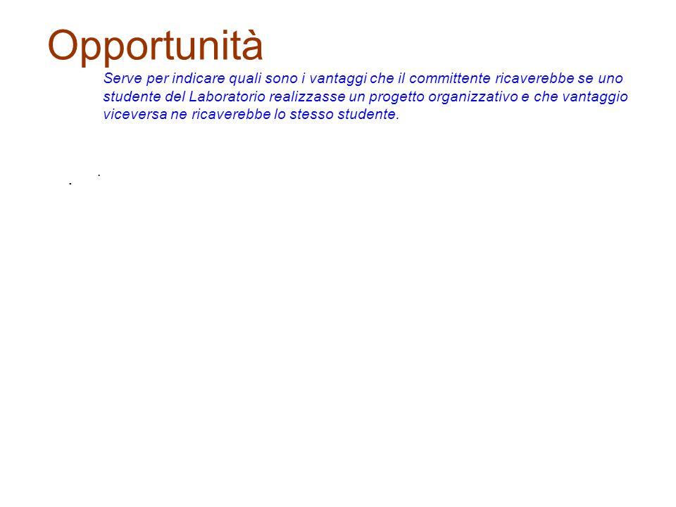 Opportunità Serve per indicare quali sono i vantaggi che il committente ricaverebbe se uno studente del Laboratorio realizzasse un progetto organizzat