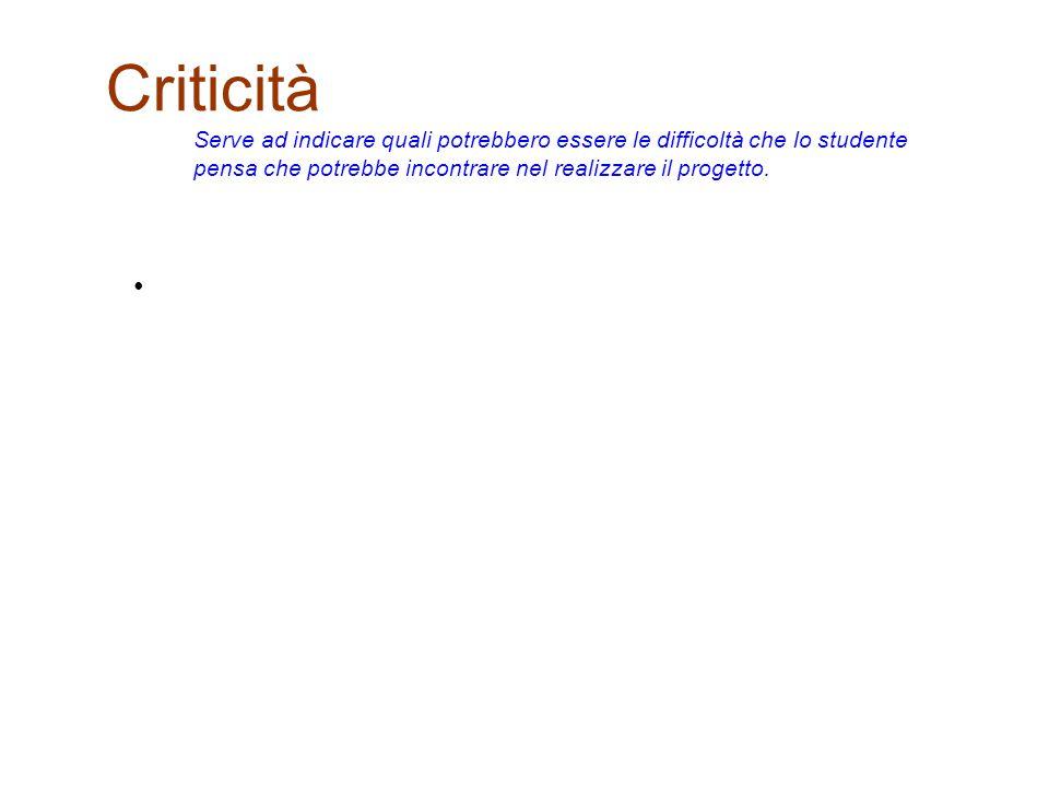 Criticità Serve ad indicare quali potrebbero essere le difficoltà che lo studente pensa che potrebbe incontrare nel realizzare il progetto.