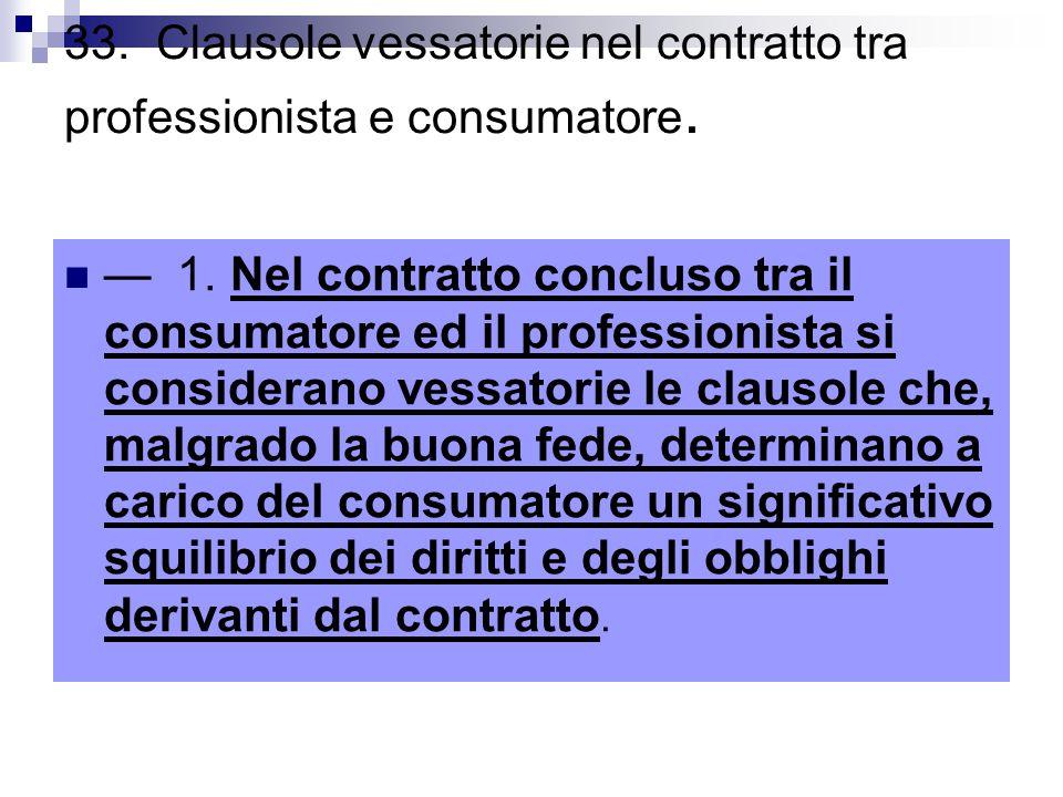 33.Clausole vessatorie nel contratto tra professionista e consumatore.