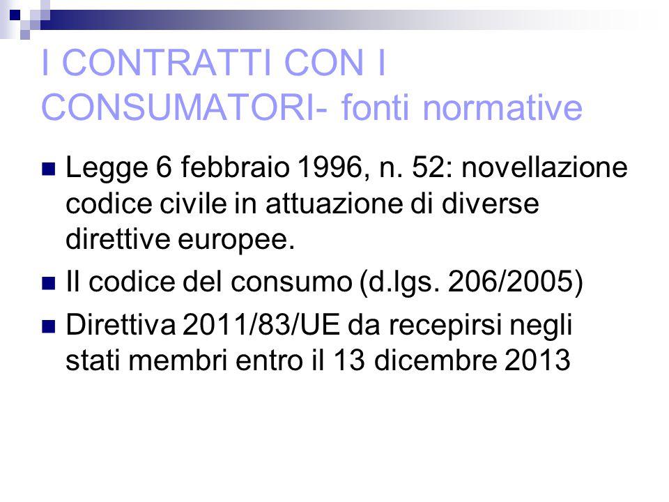 I CONTRATTI CON I CONSUMATORI- fonti normative Legge 6 febbraio 1996, n.