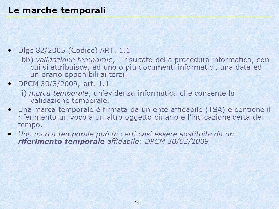 14 Le marche temporali Dlgs 82/2005 (Codice) ART. 1.1 bb) validazione temporale, il risultato della procedura informatica, con cui si attribuisce, ad