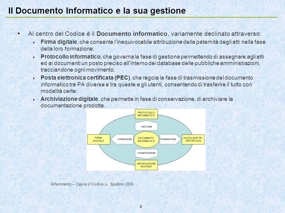 2 Il Documento Informatico e la sua gestione Al centro del Codice è il Documento informatico, variamente declinato attraverso:  Firma digitale, che c
