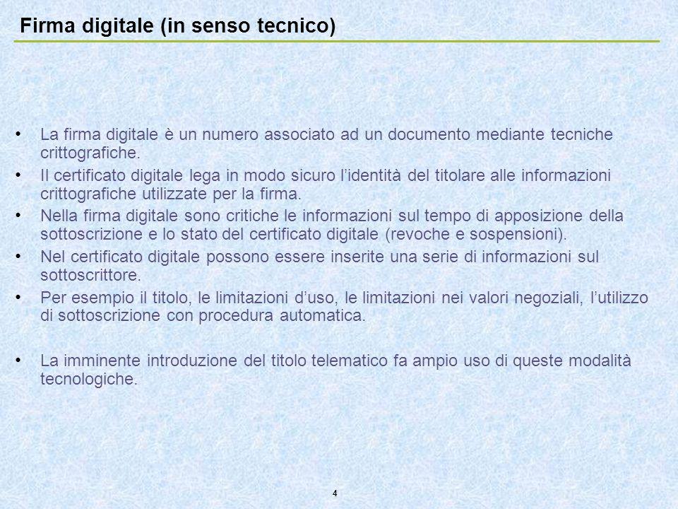 4 Firma digitale (in senso tecnico) La firma digitale è un numero associato ad un documento mediante tecniche crittografiche. Il certificato digitale