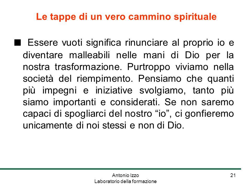 Antonio Izzo Laboratorio della formazione 21 ■ Essere vuoti significa rinunciare al proprio io e diventare malleabili nelle mani di Dio per la nostra trasformazione.