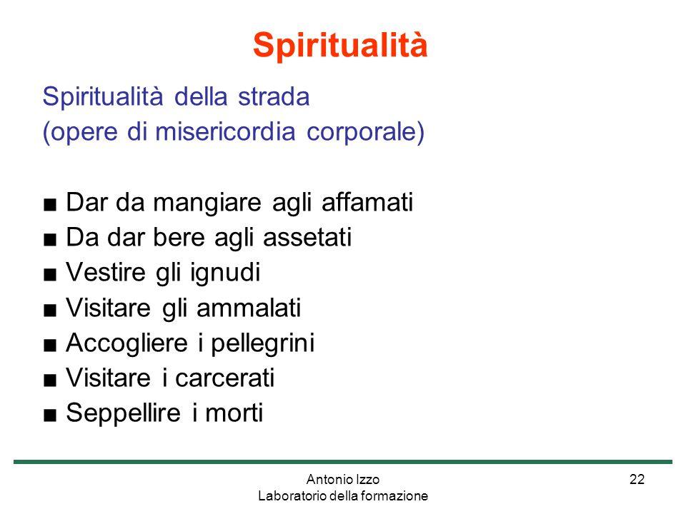 Antonio Izzo Laboratorio della formazione 22 Spiritualità della strada (opere di misericordia corporale) ■ Dar da mangiare agli affamati ■ Da dar bere