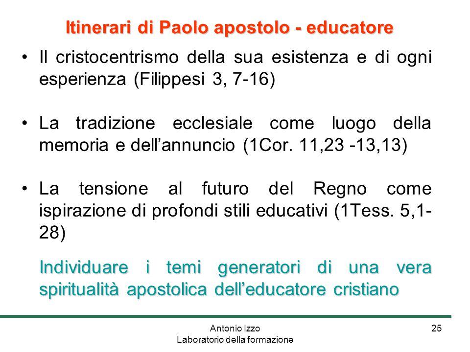 Antonio Izzo Laboratorio della formazione 25 Il cristocentrismo della sua esistenza e di ogni esperienza (Filippesi 3, 7-16) La tradizione ecclesiale come luogo della memoria e dell'annuncio (1Cor.