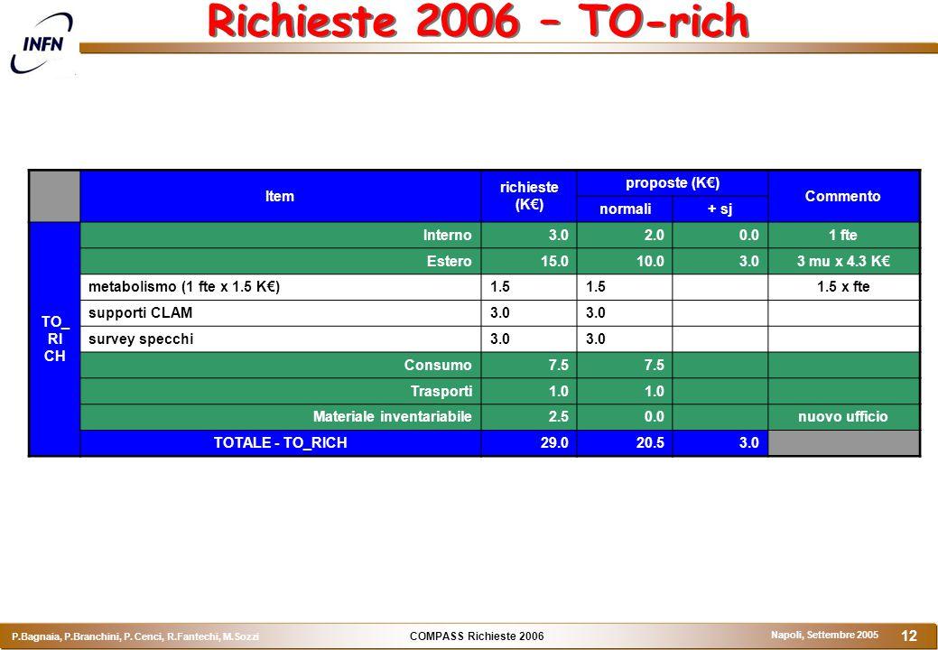 COMPASS Richieste 2006 P.Bagnaia, P.Branchini, P. Cenci, R.Fantechi, M.Sozzi Napoli, Settembre 2005 12 Richieste 2006 – TO-rich Item richieste (K€) pr