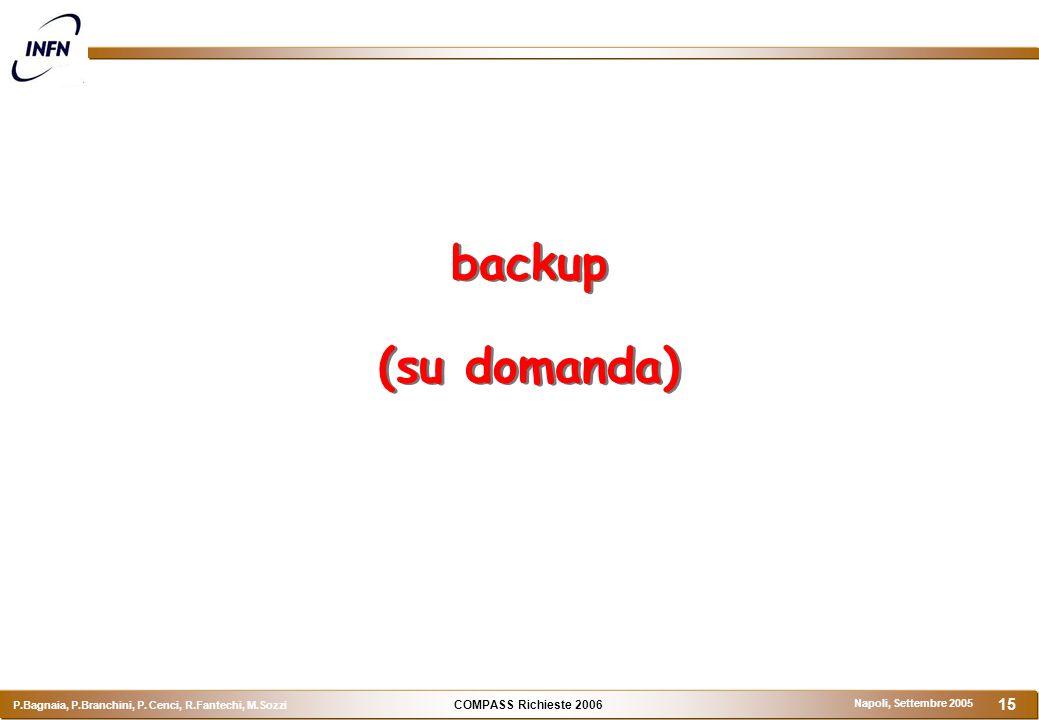 COMPASS Richieste 2006 P.Bagnaia, P.Branchini, P. Cenci, R.Fantechi, M.Sozzi Napoli, Settembre 2005 15 backup (su domanda)