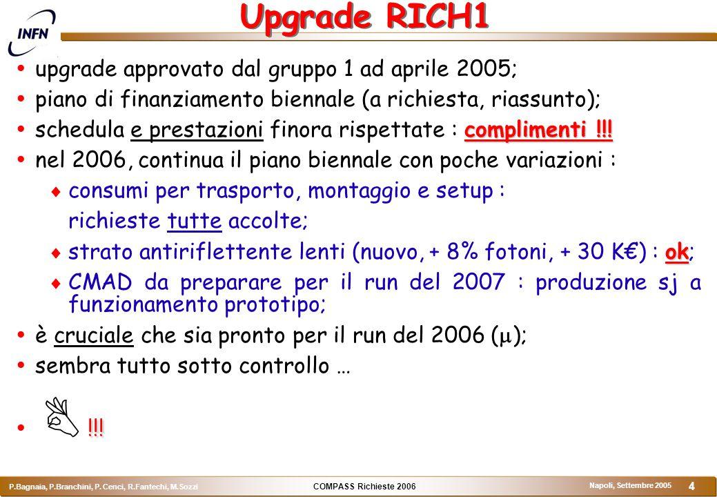 COMPASS Richieste 2006 P.Bagnaia, P.Branchini, P. Cenci, R.Fantechi, M.Sozzi Napoli, Settembre 2005 4 Upgrade RICH1  upgrade approvato dal gruppo 1 a