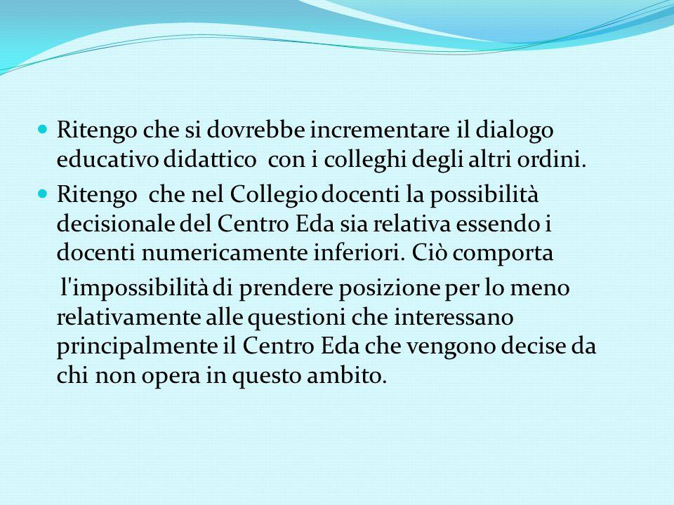 Ritengo che si dovrebbe incrementare il dialogo educativo didattico con i colleghi degli altri ordini.