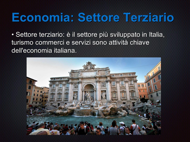 Economia: Settore Terziario Settore terziario: è il settore più sviluppato in Italia, turismo commerci e servizi sono attività chiave dell economia italiana.