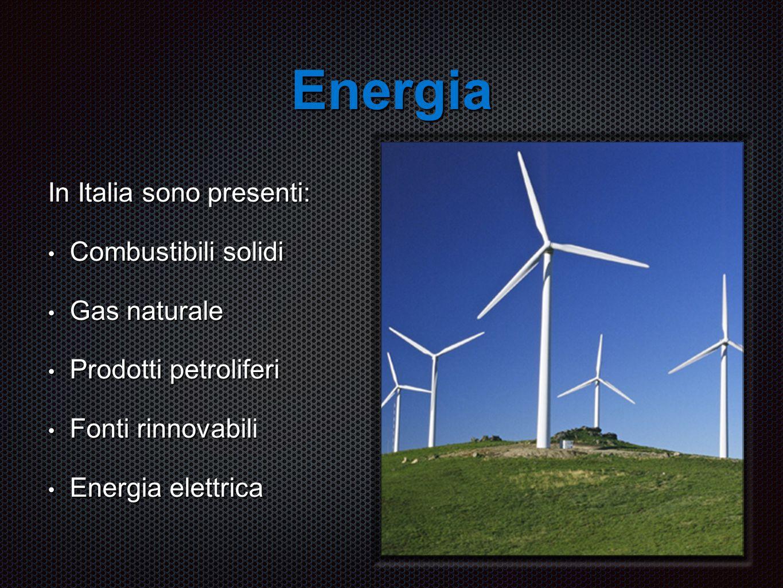 Energia In Italia sono presenti: Combustibili solidi Combustibili solidi Gas naturale Gas naturale Prodotti petroliferi Prodotti petroliferi Fonti rinnovabili Fonti rinnovabili Energia elettrica Energia elettrica