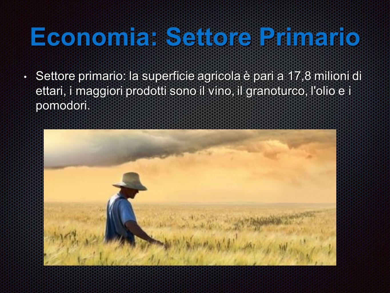 Economia: Settore Primario Settore primario: la superficie agricola è pari a 17,8 milioni di ettari, i maggiori prodotti sono il vino, il granoturco, l olio e i pomodori.