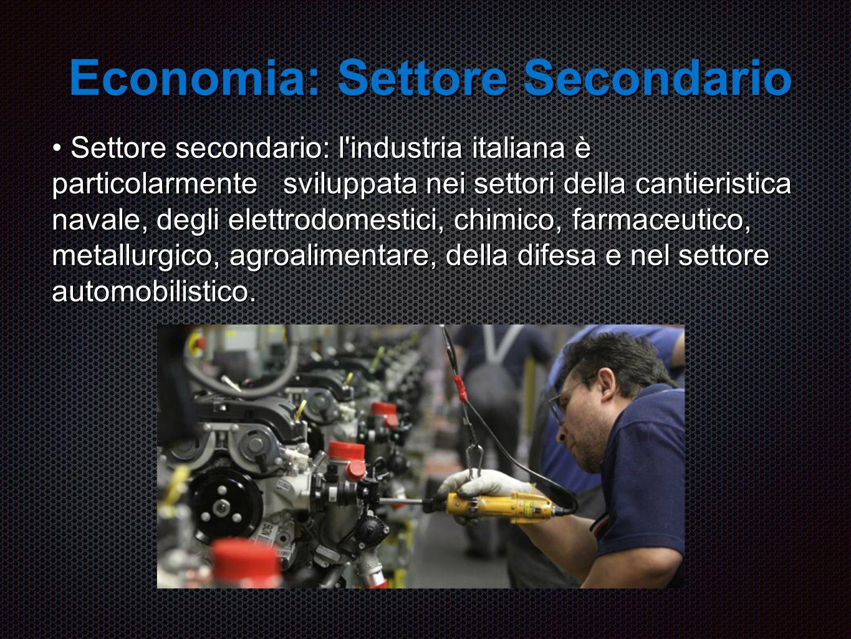 Economia: Settore Secondario Settore secondario: l industria italiana è particolarmente sviluppata nei settori della cantieristica navale, degli elettrodomestici, chimico, farmaceutico, metallurgico, agroalimentare, della difesa e nel settore automobilistico.