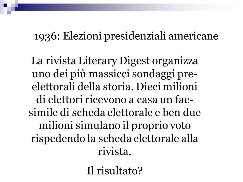 1936: Elezioni presidenziali americane La rivista Literary Digest organizza uno dei più massicci sondaggi pre- elettorali della storia. Dieci milioni