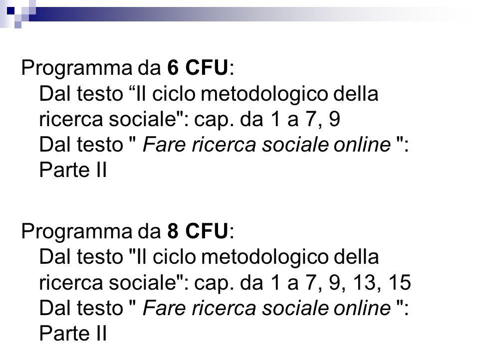 """Programma da 6 CFU: Dal testo """"Il ciclo metodologico della ricerca sociale"""