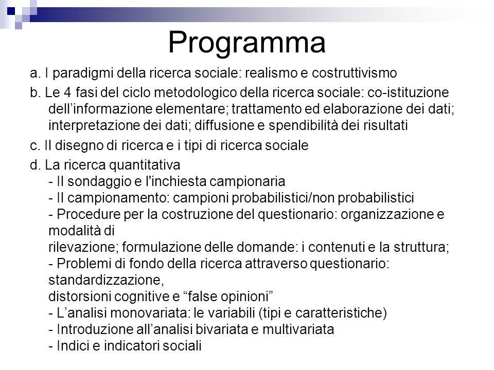 Programma a. I paradigmi della ricerca sociale: realismo e costruttivismo b. Le 4 fasi del ciclo metodologico della ricerca sociale: co-istituzione de