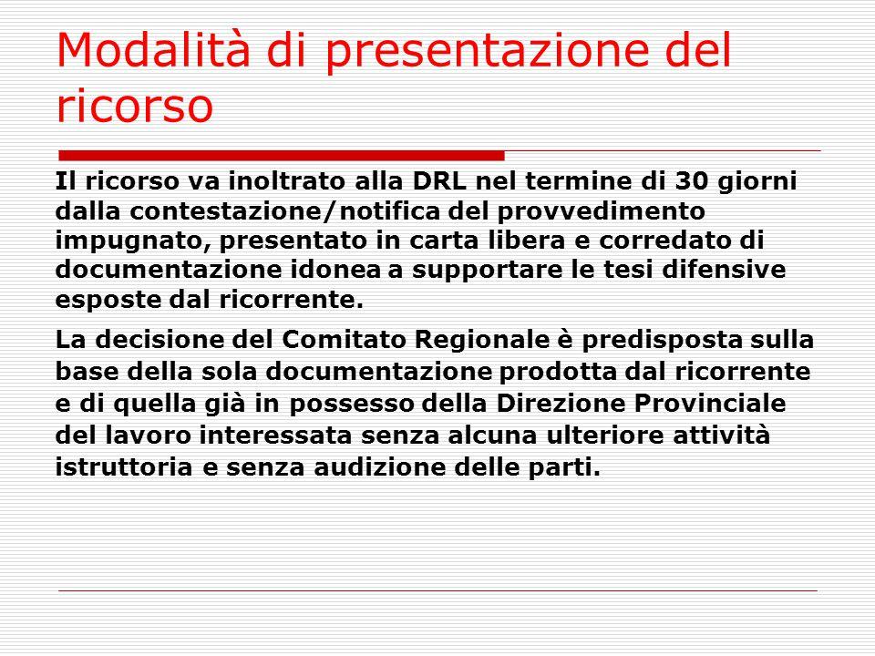 Modalità di presentazione del ricorso Il ricorso va inoltrato alla DRL nel termine di 30 giorni dalla contestazione/notifica del provvedimento impugna