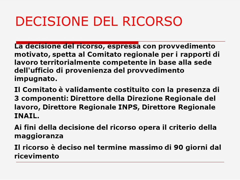 DECISIONE DEL RICORSO La decisione del ricorso, espressa con provvedimento motivato, spetta al Comitato regionale per i rapporti di lavoro territorial