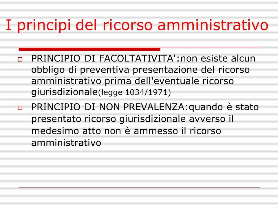 I principi del ricorso amministrativo  PRINCIPIO DI FACOLTATIVITA':non esiste alcun obbligo di preventiva presentazione del ricorso amministrativo pr
