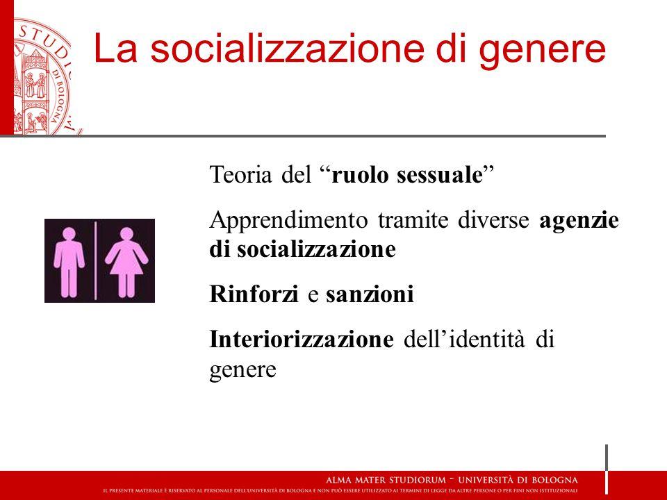 La socializzazione di genere Teoria del ruolo sessuale Apprendimento tramite diverse agenzie di socializzazione Rinforzi e sanzioni Interiorizzazione dell'identità di genere