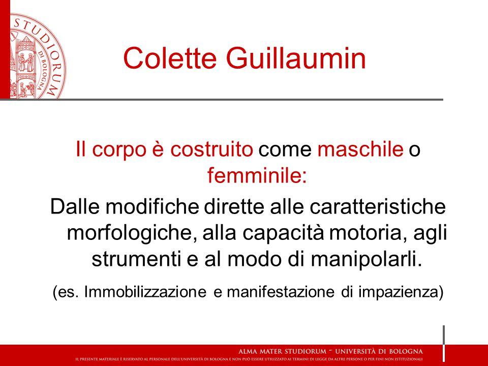 Colette Guillaumin Il corpo è costruito come maschile o femminile: Dalle modifiche dirette alle caratteristiche morfologiche, alla capacità motoria, agli strumenti e al modo di manipolarli.