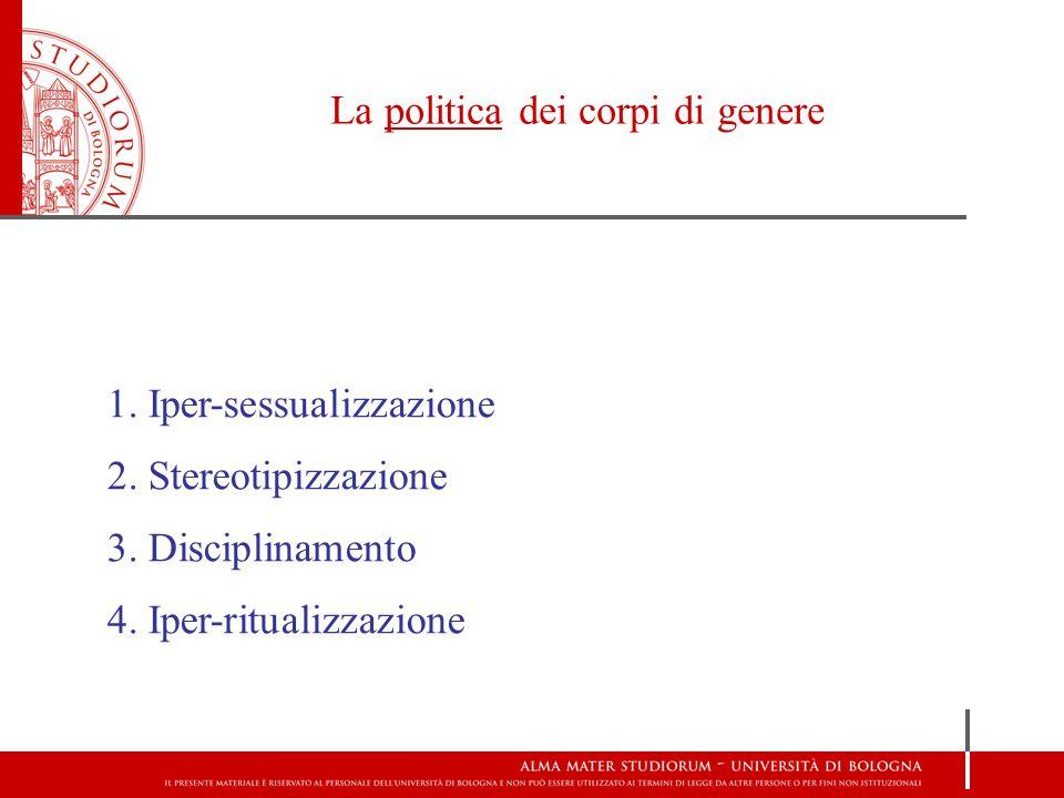 La politica dei corpi di genere 1.Iper-sessualizzazione 2.