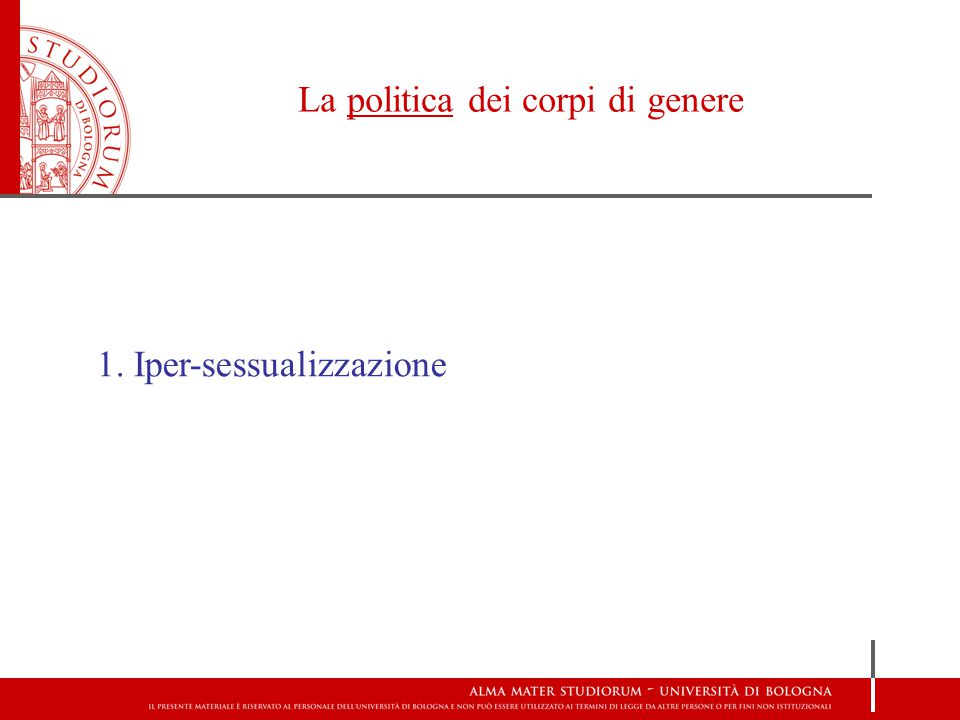 La politica dei corpi di genere 1. Iper-sessualizzazione 2. Stereotipizzazione 3. Disciplinamento 4. Iper-ritualizzazione