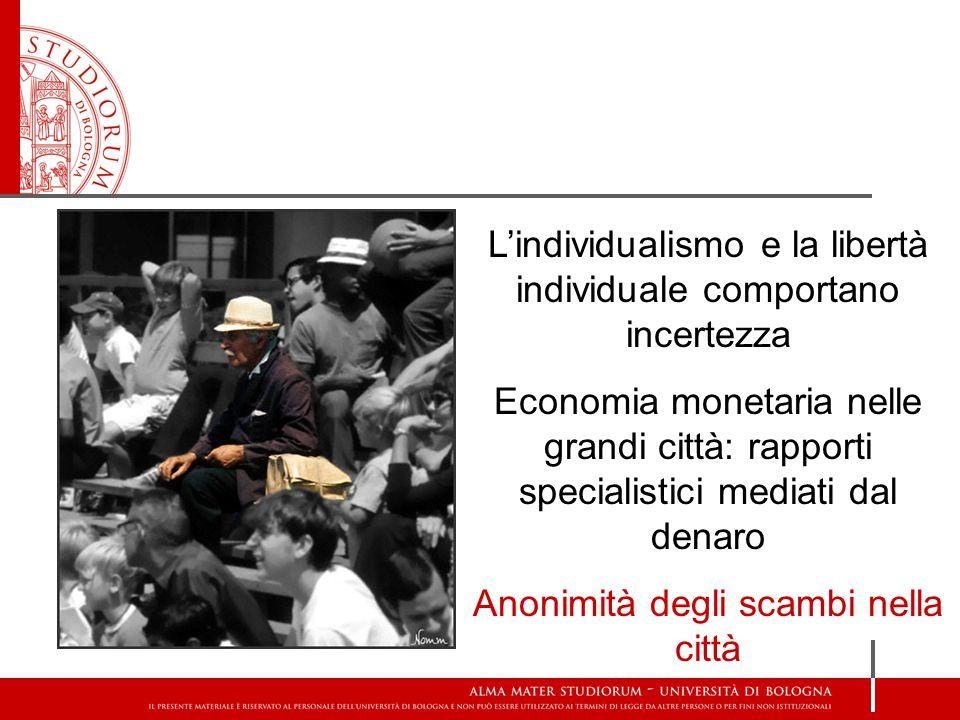 L'individualismo e la libertà individuale comportano incertezza Economia monetaria nelle grandi città: rapporti specialistici mediati dal denaro Anonimità degli scambi nella città