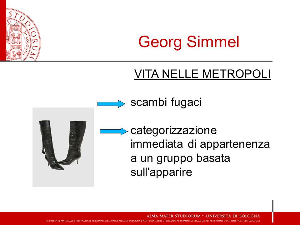 Georg Simmel VITA NELLE METROPOLI scambi fugaci categorizzazione immediata di appartenenza a un gruppo basata sull'apparire