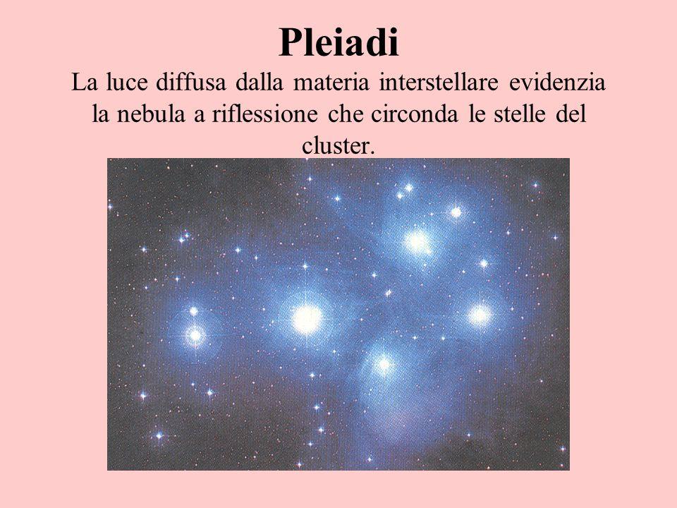 Pleiadi La luce diffusa dalla materia interstellare evidenzia la nebula a riflessione che circonda le stelle del cluster.