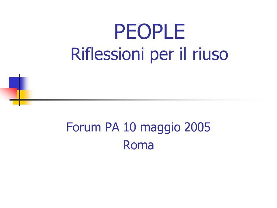 PEOPLE Riflessioni per il riuso Forum PA 10 maggio 2005 Roma