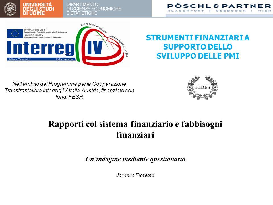 Rapporti col sistema finanziario e fabbisogni finanziari Un'indagine mediante questionario Josanco Floreani STRUMENTI FINANZIARI A SUPPORTO DELLO SVILUPPO DELLE PMI Nell'ambito del Programma per la Cooperazione Transfrontaliera Interreg IV Italia-Austria, finanziato con fondi FESR