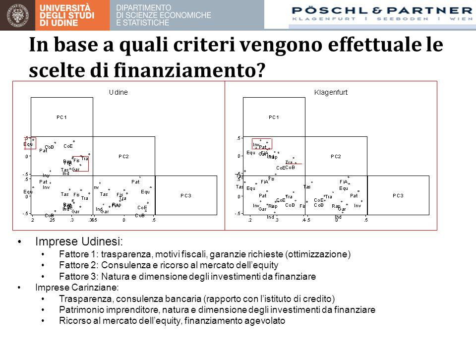 In base a quali criteri vengono effettuale le scelte di finanziamento? Imprese Udinesi: Fattore 1: trasparenza, motivi fiscali, garanzie richieste (ot