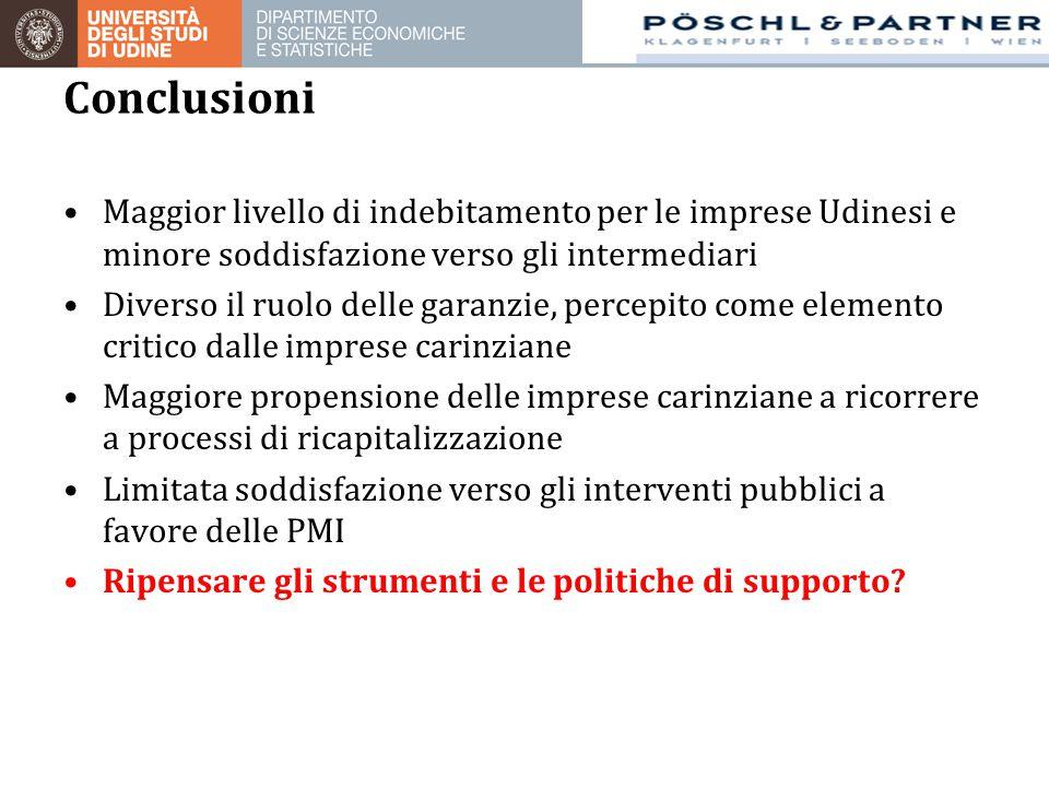 Maggior livello di indebitamento per le imprese Udinesi e minore soddisfazione verso gli intermediari Diverso il ruolo delle garanzie, percepito come