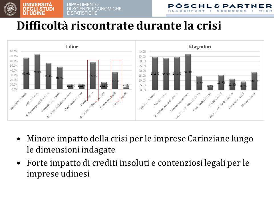 Minore impatto della crisi per le imprese Carinziane lungo le dimensioni indagate Forte impatto di crediti insoluti e contenziosi legali per le imprese udinesi Difficoltà riscontrate durante la crisi