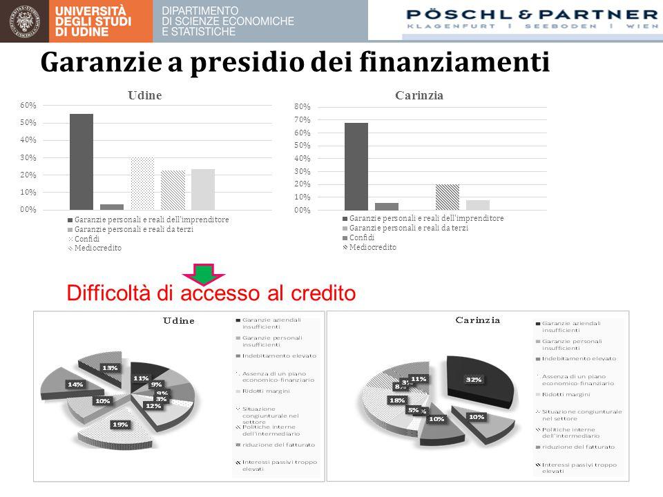 Garanzie a presidio dei finanziamenti Difficoltà di accesso al credito